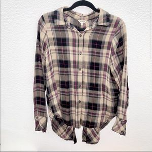 Max Studio | plaid light weight button down top M